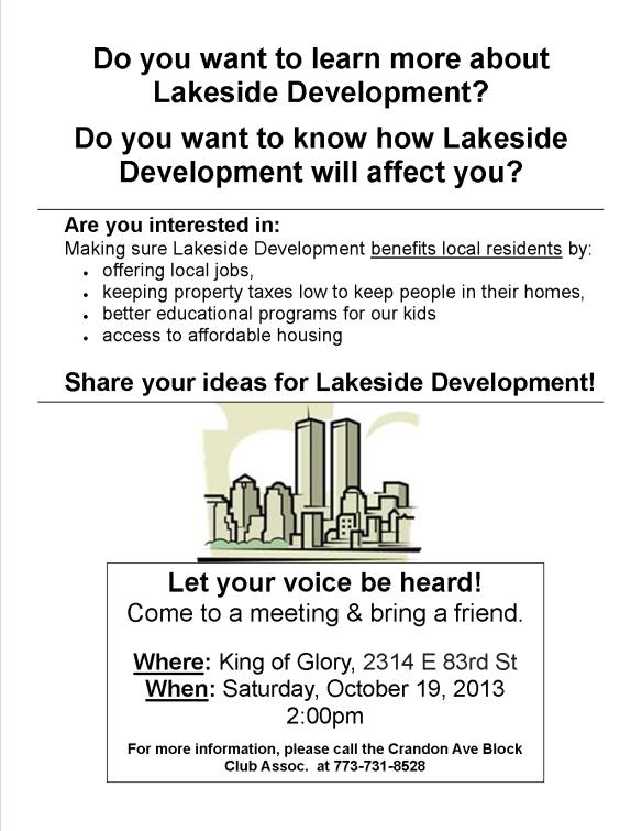 Flier for Lakeside Development 10-13