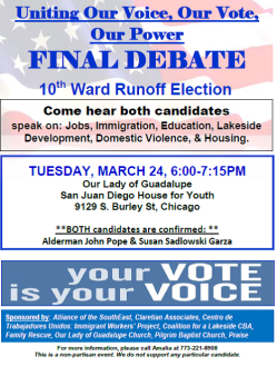 Poster for final debate 10th Ward 03-24-2015