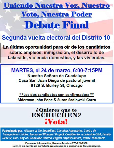 Volante para el debate final del Districto 10 03-24-2015