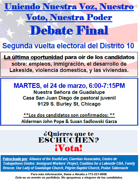 Volante para el debate final del Districto 10 03-24-2015