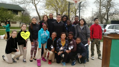 Youth leaders w Ald Elect Mitchell and Garza