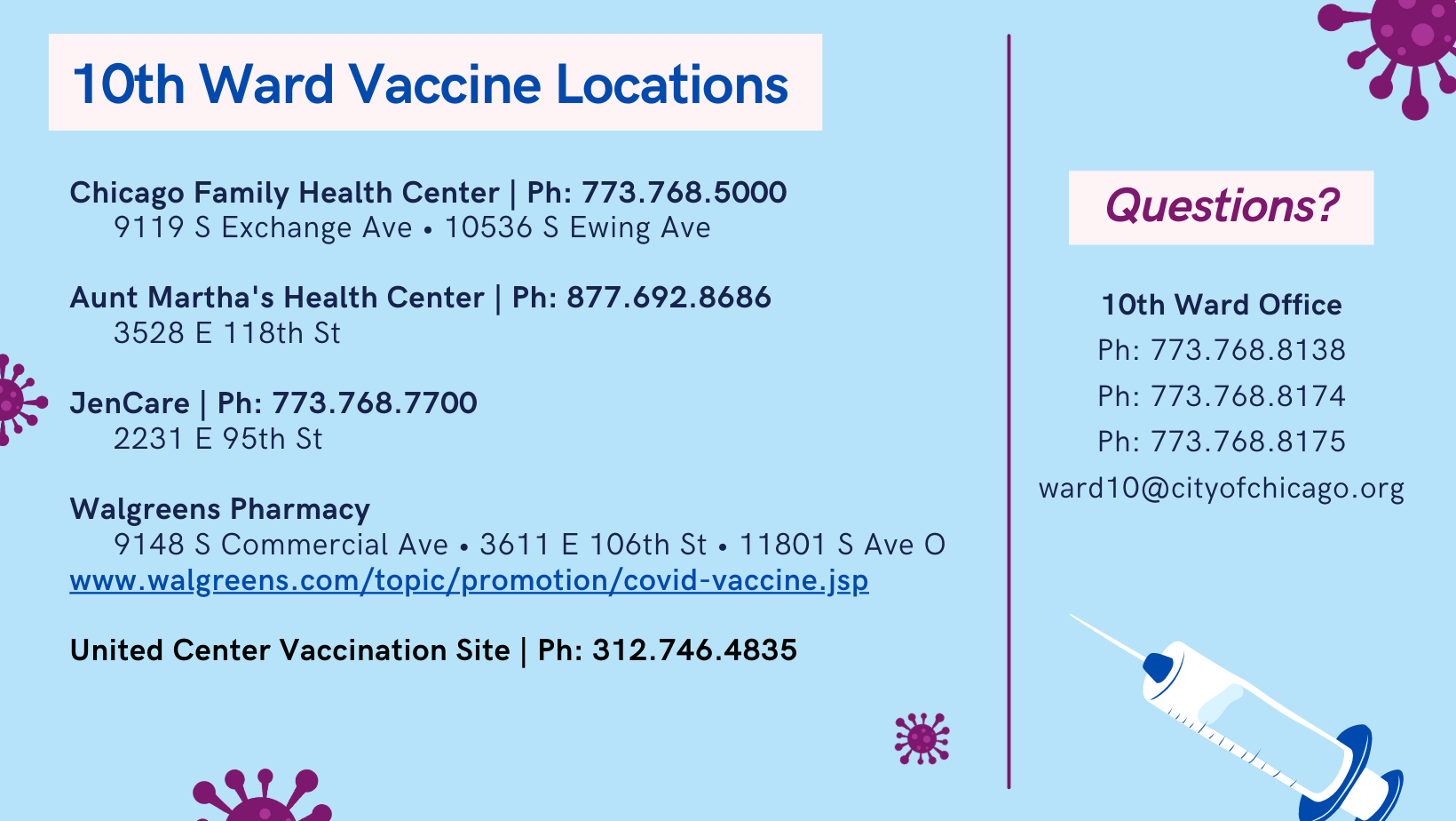 10th Ward Vaccine places